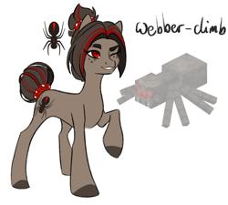 Size: 1656x1493 | Tagged: safe, artist:damayantiarts, oc, oc:webber-climb, earth pony, pony, spider, freckles, hair bun, minecraft, one eye closed, ponified, solo, tail bun, wink