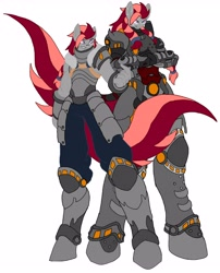 Size: 3496x4330   Tagged: safe, artist:kurogetsuouji, oc, oc only, oc:beast, oc:oath breaker, anthro, alternate hairstyle, anthro oc, armor, armored pony, before and after, duo, duo male, fantasy class, male, older, power armor, powered exoskeleton, scar, self paradox, stallion, two toned mane, two toned tail, warrior, younger