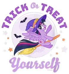 Size: 700x750 | Tagged: safe, twilight sparkle, alicorn, bat, pony, g4, official, broom, cropped, design, female, flying, flying broomstick, full moon, halloween, hat, holiday, mare, merchandise, moon, shirt design, simple background, solo, stars, text, transparent background, twilight sparkle (alicorn), witch hat