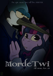 Size: 886x1280   Tagged: safe, artist:joesanchez, twilight sparkle, anthro, crossover, crossover shipping, female, male, meme, mordecai, mordetwi, poster, regular show, shipping, straight, text, title card, twilight (series)