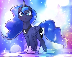 Size: 2048x1634   Tagged: safe, artist:kurogewapony, princess luna, alicorn, pony, :o, abstract background, cute, female, lunabetes, mare, open mouth, solo