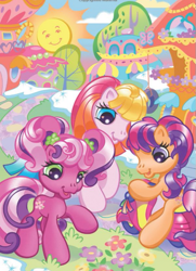 Size: 525x724 | Tagged: safe, cheerilee (g3), scootaloo, scootaloo (g3), toola roola, g3, g3.5, flower, looking down, motorcycle, the greenest day