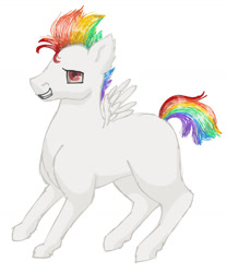 Size: 1084x1304 | Tagged: safe, artist:julymays, oc, oc only, oc:buff, pony, grin, male, multicolored hair, offspring, parent:bulk biceps, parent:rainbow dash, rainbow hair, simple background, smiling, solo, stallion, white background, wings