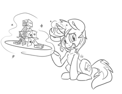 Size: 3300x2550 | Tagged: safe, artist:leadhooves, oc, oc only, oc:jonin, pony, unicorn, black and white, commission, grayscale, grin, house of cards, looking at you, magic, male, monochrome, playing card, raised hoof, simple background, sitting, smiling, solo, stallion, telekinesis, white background