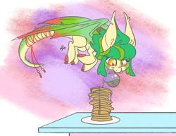 Size: 3300x2550 | Tagged: safe, artist:leadhooves, oc, oc only, unnamed oc, dracony, dragon, hybrid, cloven hooves, commission, dragon wings, female, food, jumping, mouth hold, pancakes, plate, smiling, solo, syrup, table, tail wrap, wings