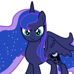 Size: 898x890 | Tagged: dead source, safe, artist:theshadowstone, princess luna, alicorn, pony, angry, blue, cyan eyes, death stare, ethereal mane, ethereal tail, frown, looking at you, serious, serious face, simple background, sparkles, staring at you, staring into your soul, transparent background