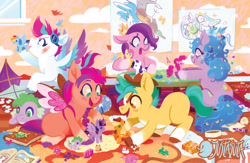 Size: 1250x815 | Tagged: safe, artist:justasuta, applejack, discord, fluttershy, gummy, hitch trailblazer, izzy moonbow, opalescence, owlowiscious, pinkie pie, pipp petals, princess luna, rainbow dash, rarity, spike, sunny starscout, twilight sparkle, winona, zipp storm, alicorn, draconequus, dragon, earth pony, pegasus, pig, pony, unicorn, g5, my little pony: a new generation, alternate hairstyle, ball, bandaid, book, carpet, colt, crayons, crown, digital art, drawing, fake wings, female, filly, foal, goggles, goggles on head, hat, indoors, jewelry, juice, juice box, kite, lesbian, male, mane five (g5), messy, open mouth, open smile, playing, ponytail, rarijack, regalia, rope, shipping, sitting, smiling, spread wings, table, tape, tennis ball, toy, twilight sparkle (alicorn), wand, window, wings