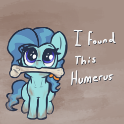 Size: 1310x1310   Tagged: safe, artist:t72b, petunia paleo, earth pony, pony, behaving like a dog, bone, female, filly, humerus, looking up, mouth hold, pun, sitting, solo, visual pun