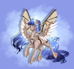 Size: 2236x2080   Tagged: safe, artist:erim-kawamori, oc, oc:tinker trail, pegasus, pony, artificial wings, augmented, female, mare, mechanical wing, solo, wings