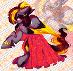 Size: 4591x4483   Tagged: safe, artist:krissstudios, oc, pegasus, pony, absurd resolution, clothes, colored wings, dress, female, mare, multicolored wings, solo, wings