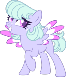Size: 1778x2060   Tagged: safe, artist:kurosawakuro, pegasus, pony, colored wings, female, magical lesbian spawn, mare, multicolored wings, offspring, parent:cloudchaser, parent:flitter, simple background, solo, transparent background, wings
