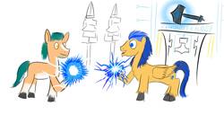 Size: 1280x699   Tagged: safe, artist:horsesplease, flash sentry, hitch trailblazer, g5, celestial, doodle, flash the lightning-bearer, hammer, headcanon, lightning, magic, mjölnir, ruins, statue, student, war hammer