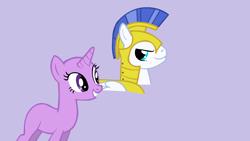 Size: 1280x720 | Tagged: safe, artist:aonairfaol, oc, oc only, pony, unicorn, bald, base, bust, duo, eyelashes, female, grin, helmet, horn, mare, purple background, royal guard, simple background, smiling, unicorn oc