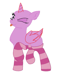 Size: 453x562 | Tagged: safe, artist:aonairfaol, oc, oc only, alicorn, pony, :p, alicorn oc, bald, base, chest fluff, clothes, eyelashes, horn, one eye closed, simple background, socks, solo, striped socks, tongue out, white background, wings, wink