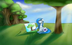 Size: 1132x706 | Tagged: safe, artist:penrosa, oc, oc only, earth pony, pony, canvas, earth pony oc, outdoors, painting, solo, tree
