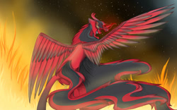 Size: 1132x706 | Tagged: safe, artist:penrosa, oc, oc only, alicorn, pony, alicorn oc, evil grin, fire, glowing horn, grin, horn, smiling, solo, wings