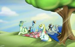 Size: 1132x706 | Tagged: safe, artist:penrosa, oc, oc only, pegasus, pony, unicorn, cloud, horn, outdoors, pegasus oc, picnic, picnic blanket, signature, tree, two toned wings, unicorn oc, wings