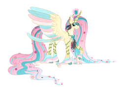 Size: 7000x5000 | Tagged: safe, artist:queenderpyturtle, fluttershy, alicorn, pony, alicornified, cloven hooves, colored fetlocks, colored wings, fluttercorn, multicolored wings, race swap, simple background, solo, white background, wings