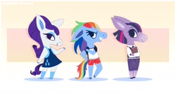 Size: 2153x1149 | Tagged: safe, artist:syrupyyy, rainbow dash, rarity, twilight sparkle, horse, pony, anthro, alternate hairstyle, animal crossing, book, clothes, crossover, dress, eyeshadow, female, jeans, makeup, open mouth, pants, shirt, shorts, sports shorts, stockings, t-shirt, thigh highs, trio, vest