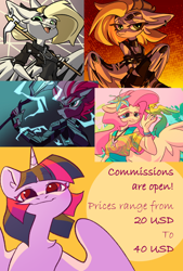 Size: 2048x3034   Tagged: safe, artist:dodsie, fluttershy, tempest shadow, twilight sparkle, oc, oc:tlen borowski, alicorn, bird, pegasus, unicorn, anthro, plantigrade anthro, my little pony: the movie, abstract background, advertisement, armor, artificial wings, augmented, boots, broken horn, choker, clothes, collar, commission info, dress, ear piercing, earring, eye scar, fangs, female, floppy ears, flower, flower in hair, frown, gradient background, hippieshy, horn, jewelry, looking at you, mechanical wing, necklace, one-piece swimsuit, piercing, ripped stockings, scar, shirt, shoes, socks, staff, staff of sacanas, stockings, storm king's emblem, swimsuit, thigh highs, tie dye, torn clothes, twilight sparkle (alicorn), weapon, wings