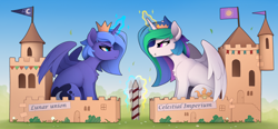 Size: 2900x1350 | Tagged: safe, artist:yakovlev-vad, princess celestia, princess luna, alicorn, pony, cardboard, castle, crown, duo, glowing horn, horn, jewelry, magic, paper crown, pouting, pouty lips, regalia, royal sisters, s1 luna, sibling rivalry, siblings, sisters, sitting, telekinesis