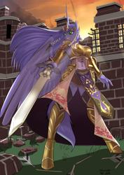 Size: 2970x4200 | Tagged: safe, artist:siberwar, oc, oc only, oc:mariah wolves, alicorn, anthro, unguligrade anthro, alicorn oc, anthro oc, armor, armor skirt, arrow, clothes, corset, crossover, golden armor, horn, jewelry, loincloth, long hair, long horn, pauldron, princess zelda, skirt, standing, sword, the legend of zelda, tiara, weapon, wings