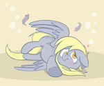Size: 1095x912 | Tagged: safe, artist:cookieboy011, derpy hooves, pegasus, pony, :t, blushing, cute, derpabetes, feather, floppy ears, heart, solo