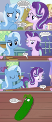 Size: 2219x5128 | Tagged: safe, artist:silverbuller, edit, edited screencap, screencap, pinkie pie, starlight glimmer, trixie, pony, unicorn, all bottled up, comic, female, food, hooves, horn, inanimate tf, mare, pickle, pickle rick, rick and morty, screencap comic, transformation