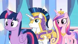 Size: 3410x1920 | Tagged: safe, screencap, princess cadance, shining armor, twilight sparkle, alicorn, pony, unicorn, season 6, the times they are a changeling, crown, cute, cutedance, female, jewelry, male, mare, regalia, shining adorable, stallion, twiabetes, twilight sparkle (alicorn)