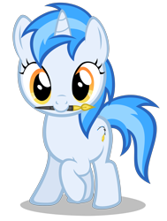Size: 2240x2960 | Tagged: safe, artist:strategypony, oc, oc only, oc:penny curve, unicorn, cute, female, filly, horn, ink pen, looking at you, mascot, mouth hold, raised hoof, simple background, transparent background, unicorn oc