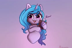 Size: 4000x2672 | Tagged: safe, artist:miokomata, izzy moonbow, pony, unicorn, g5, beans, blushing, cute, female, food, holding, izzy's beans, izzybetes, looking at you, mare, simple background, smiling, smiling at you, solo, that pony sure does love beans