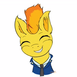 Size: 3791x3776 | Tagged: safe, artist:simplesample, spitfire, pegasus, pony, clothes, cute, cutefire, necktie, simple background, smiling, smiling at you, solo, uniform, white background