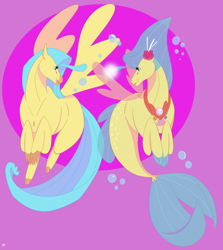 Size: 1872x2096   Tagged: safe, artist:angrygoat666, princess skystar, classical hippogriff, hippogriff, seapony (g4), my little pony: the movie, beak, blue eyes, blue mane, bubble, digital art, dorsal fin, female, fin wings, fins, fish tail, flower, flower in hair, flowing tail, glowing, jewelry, necklace, pink background, seashell, seashell necklace, simple background, solo, spread wings, tail, wings
