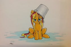 Size: 2592x1734   Tagged: safe, artist:maikeruto, sunset shimmer, pony, unicorn, bucket, female, fiery shimmer, frown, headbucket, high res, mare, newbie artist training grounds, not fiery shimmer, solo, subverted meme, sunset shimmer is not amused, traditional art, unamused, upset, water, wet, wet mane