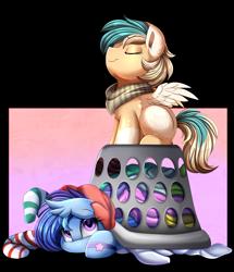 Size: 3069x3565   Tagged: safe, artist:pridark, oc, oc only, oc:astral flare, oc:sun light, pegasus, pony, duo, laundry, laundry basket