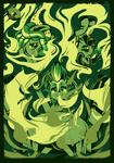 Size: 2100x3000 | Tagged: safe, artist:poxy_boxy, tree hugger, oc, oc:aero, demon, hybrid, pegasus, zebra, zony, abstract art, abstract background, commission, drugs, marijuana, modern art, poster, smoke, smoking, wallpaper, zebra oc