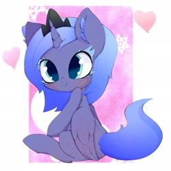 Size: 2048x2048 | Tagged: safe, artist:zokkili, princess luna, alicorn, pony, colored eyelashes, female, filly, solo, woona, younger