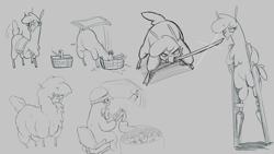 Size: 3840x2160 | Tagged: safe, artist:hitsuji, paprika (tfh), alpaca, them's fightin' herds, apple, artillery, basket, broccoli, chair, cinnamon bun, cloven hooves, female, fluffy, food, gray background, grayscale, helmet, hiding, katana, monochrome, simple background, stilts, sword, weapon
