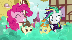 Size: 1280x720 | Tagged: safe, screencap, pinkie pie, pound cake, pumpkin cake, rarity, earth pony, pegasus, pony, unicorn, it isn't the mane thing about you, season 7, alternate hairstyle, baby, baby pony, bubble, cake twins, colt, cute, diapinkes, female, filly, foal, grin, male, mare, punk, raribetes, raripunk, siblings, smiling, twins