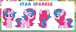 Size: 1200x513   Tagged: safe, artist:jennieoo, oc, oc:star sparkle, pony, unicorn, female, filly, foal, front view, happy, reference, reference sheet, side view, simple background, smiling, solo, vector