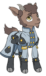 Size: 860x1420   Tagged: safe, artist:multiverseequine, derpibooru exclusive, oc, oc only, oc:pasha, goat, bag, boots, buttons, clothes, coat, daybreak island, facial hair, goat eyes, goat oc, goatee, horns, male, saddle bag, shoes, simple background, solo, transparent background
