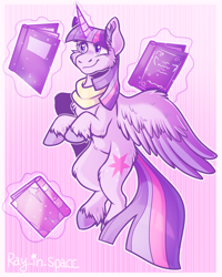 Size: 2000x2500 | Tagged: safe, artist:ray-in-space, twilight sparkle, alicorn, pony, abstract background, book, bookhorse, cheek fluff, chest fluff, ear fluff, female, fluffy, levitation, magic, mare, smiling, solo, spread wings, starry eyes, telekinesis, twilight sparkle (alicorn), unshorn fetlocks, wing fluff, wingding eyes, wings
