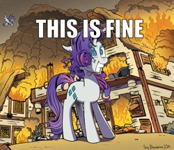 Size: 1073x928   Tagged: safe, alternate version, artist:pony-berserker, derpy hooves, rarity, pegasus, pony, unicorn, caption, crazy face, faic, fire, meme, messy mane, ponyville, smiling, text, this is fine