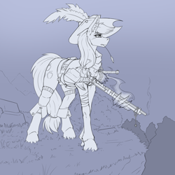 Size: 2000x2000   Tagged: safe, artist:twotail813, applejack, earth pony, pony, clothes, earth pony do magic, female, gun, hand, hat, hooves, magic, magic hands, mare, rifle, sketch, socks, solo, weapon