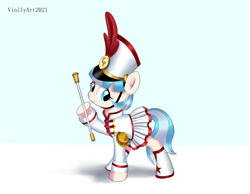 Size: 3262x2528 | Tagged: safe, artist:vinilyart, coco pommel, earth pony, pony, clothes, cocobetes, cute, female, marching band uniform, mare, simple background, skirt, solo, white background