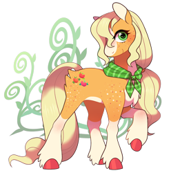 Size: 2012x2032 | Tagged: safe, artist:catbun-yt, applejack, earth pony, pony, blaze (coat marking), butt fluff, coat markings, colored hooves, cute, facial markings, female, freckles, hatless, high res, jackabetes, leg fluff, mare, missing accessory, neckerchief, redesign, simple background, socks (coat markings), solo, transparent background