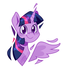 Size: 1000x1150   Tagged: safe, artist:imaplatypus, twilight sparkle, alicorn, pony, bust, colored pupils, cute, eye clipping through hair, female, looking at you, mare, portrait, simple background, smiling, smiling at you, solo, twiabetes, twilight sparkle (alicorn), white background
