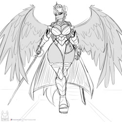 Size: 2000x2000   Tagged: safe, artist:thedrunkcoyote, oc, oc only, oc:queen aurora, alicorn, anthro, alicorn oc, armor, breasts, commission, digital art, female, horn, looking at you, monochrome, simple background, solo, spread wings, tail, thighs, white background, wide hips, wings