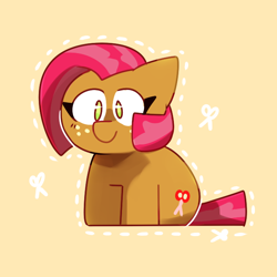 Size: 650x650   Tagged: safe, artist:cookiiecats, babs seed, earth pony, pony, adorababs, cute, cutie mark, female, filly, orange background, scissors, simple background, sitting, solo