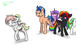 Size: 1000x600 | Tagged: safe, artist:joan-grace, oc, oc only, oc:prism, oc:spectrum, earth pony, pegasus, pony, angry, bag, crying, earth pony oc, female, male, mare, multicolored hair, offspring, parent:rainbow dash, parent:soarin', parents:soarindash, rainbow hair, saddle bag, signature, simple background, stallion, white background, wings